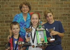 Thomas Dal Bon, Dean Blair Memorial Trophy winner Isabelle Hodgson, Joshua Kennedy and Joan Blair.